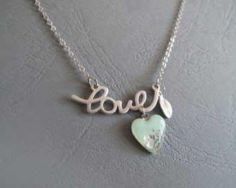 Love Heart Necklace - Silver Mint Necklace