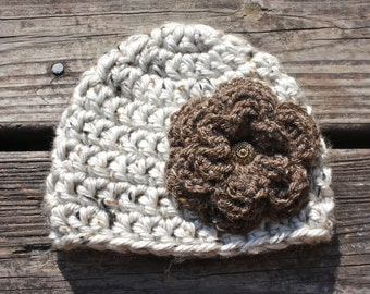 Chunky Crochet Hat with Flower - Newborn to Child Sizes