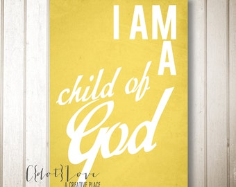 LDS Children's Art - I am a Child of God - 5x7 or 8x10 YOU print digital file download