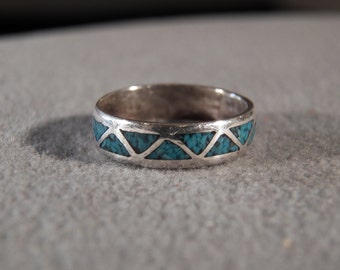 Vintage Sterling Silver Eternity Style Band Ring with Triangular Inset Turquoise Stones, Size 7 1/2         M