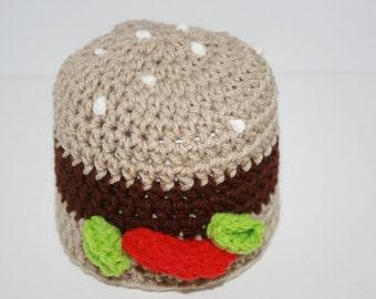 Burger 'Inspired' Crochet Beanie Hat. Fast food.