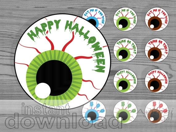 Halloween eyeball labels, printable party circles, eyes tags, 4 different text, 2 in round treat bag tags download