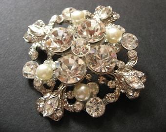 Blue Blood Swarovski Rhinestones Crystals and Pearls Wedding Bridal Bridesmaids Brooch Pin