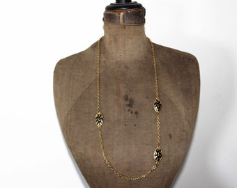 Vintage Long Gold Chain Necklace with Tiger Stripe Beads, Animal Print Chunky Gold Chain Necklace