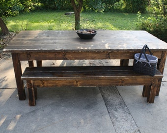 8 foot dark walnut stained distressed primitive farmhouse country cabin kitchen table w - Primitive Kitchen Tables