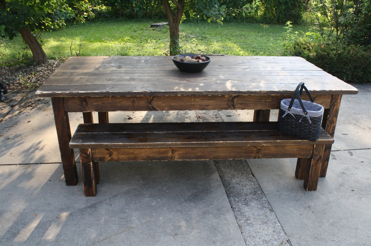 Primitive Kitchen Furniture 8 Foot Dark Walnut Stained Distressed Primitive Farmhouse