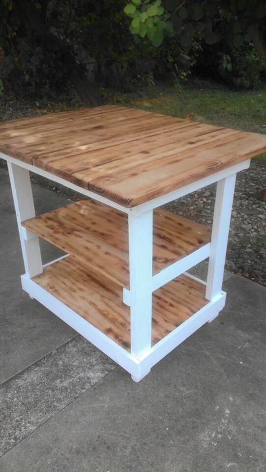 KITCHEN ISLAND Bar Multi Functional Tall Wood Table BURNT