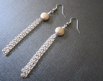 SALE ** Silver luster lentils with strands of chains