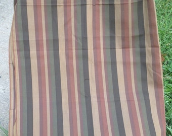 """Vintage Cotton Dress Weight Fabric / browns & green stripes 45"""" x 6 yards, by yard"""