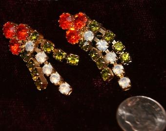 SALE!! Rhinestone Earrings Colorful Dangle Vintage Clip