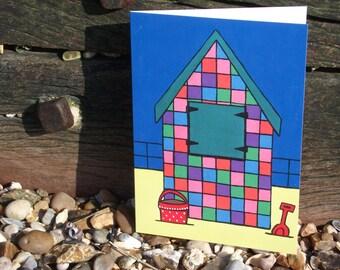 Checkered Beach Hut Greeting Card