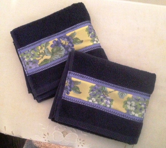 bathroom decorative hand towels dark blue with light blue