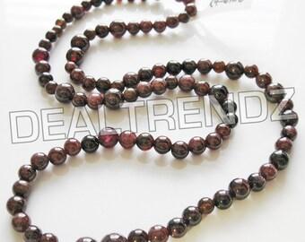 "SRI LANKA GARNET ∥ 18"" strand −−− 4mm ~ 6mm ∥ round drilled natural gemstone spacer beads jewelry supplies"