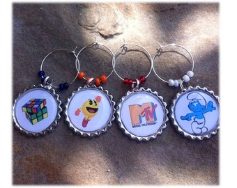 MTV n' the 80's  Wine Glass Charms/Magnets