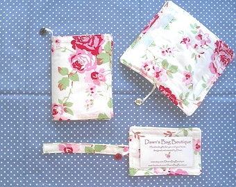 Travel set, luggage set, passport cover, luggage tag and luggage handle wrap White Rosalie, White Roses, Cath Kidston IKEA