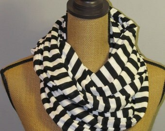 Black and White stripe Knit Infinity Scarf