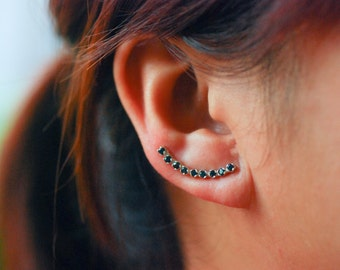 Black Onyx Ear Climbers Sterling Silver - Lucky 9s