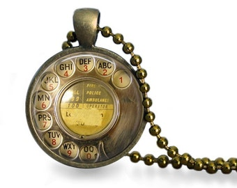 Retro telephone rotary dial pendant necklace antique bronze vintage phone