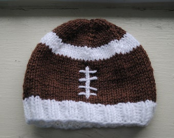 Knit football Hat: Newborn to 6 month size