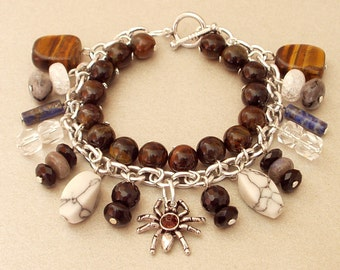 Bracelet with gemstones, silver