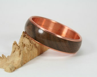 Hand Turned Bangle Bracelet Copper and Indian Rosewood
