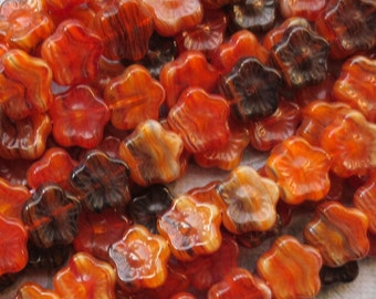 Orange, Rust and Black, Czech Glass 5 Petal Flowers, 12 Beads  - Item 373