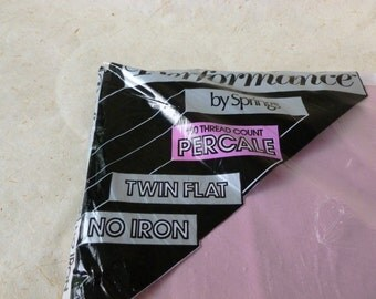 Twin Flat No Iron Percale Sheet English Rose by Springs Unopened made in The USA, Pink