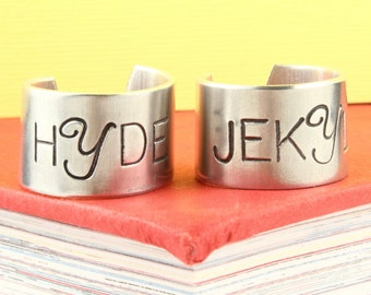 Dr. Jekyll and Mr. Hyde Rings - Silver Rings - Couples Rings - doctor jeykll - Size 7 Ring - Size 8 Ring - Adjustable Ring - Gift for Couple