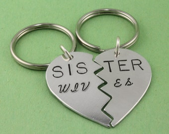 Sister Wives Keychains - Broken Heart Keychains - Best Friends Gift - BFF Keychains - Heart Key Chains - Heart Key Rings - Gift for Sister