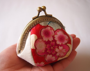 Sakura Festival, Red - Framed Coin Purse/ Change Purse/ Jewelry Pouch/ Kisslock- Handmade in Japan by Chikaberry