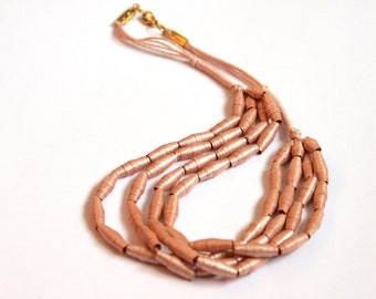 Pearlescent Pink Shoyu Paper Necklace