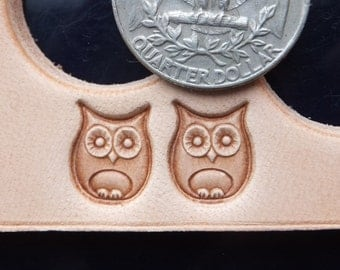 016-09 OWL Leather stamp 10x12 mm 6/16'' to 8/16'' brass surface