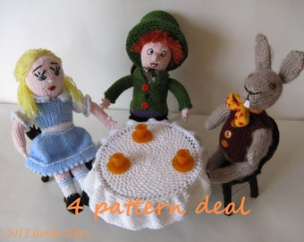 Knitted Alice in Wonderland, Mad Hatter and March Hare at the tea party, Lewis Carroll bookstory dolls, PATTERN, PDF file, tutorial
