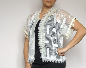 Bridal bolero lace/bridal mini jacket ethnic/lace top ivory with ruffles/victorian top high neck