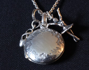 Sterling Silver Custom Photo Ballerina Girl Mini Locket Necklace