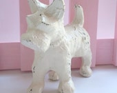 Distressed Cast Iron Scottie Dog Antique White Fun Shelf Figurine Gift