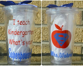 Teacher Gifts - I Teach Kindergarten. What's Your Superpower? - Tumbler