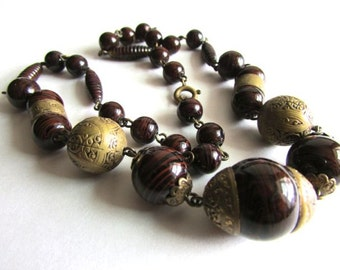 Czech Brown Swirl Art Glass and Brass Necklace