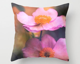 """Throw Pillow Cover - Sunset Flower Impression 16""""x16"""" 18''x18'' 20''x20'' Photography 100% Spun Polyester blossom yellow orange pink vintage"""