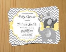 Boy Baby Shower Invitations Boy Elephant Baby Shower Invitation Yellow - FREE Thank You card (87)