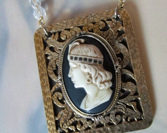 Flapper Cameo Assemblage Necklace with Repurposed Vintage Shoe Clip