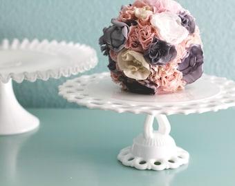 Vintage Cake Stand for Milk Glass Weddings / MilkGlass Cakestand