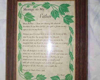 Vintage Message to My Father Plaque Wall Hanging Rex Shoaf