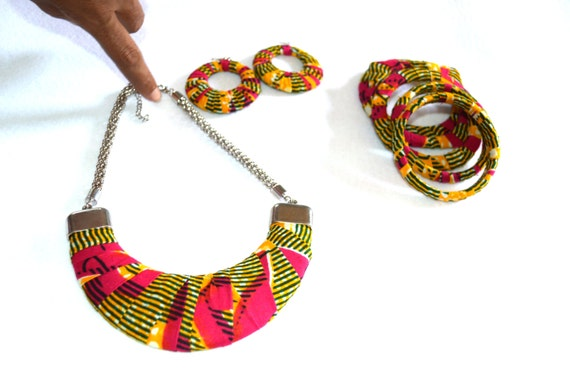 African Fabric Jewelry Gift Set, Bridesmaid Gift Set, Earrings and Necklace And Bangle Set,  Gift for her -  African Ankara Fabric Gift Set