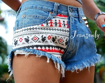 Aztec tribal shorts Levis High waisted tribal aztec print denim frayed jeans shorts by Jeansonly