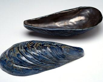 Mussel  Bowl Sculptures- Ceramic - Blue and Pewter Glaze