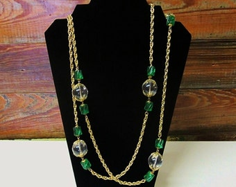 SALE! SALE! 1960s Lucite Hostess Necklace Fabulous Extra Long Chain Emerald Green Clear Lucite Beads