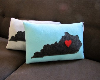 State of Kentucky Pillow with heart