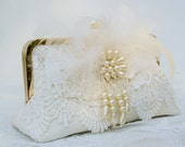 Vintage Style Bride / Great Gatsby / Something Old / Lace Wedding Clutch / Vintage Kimono / Custom Order