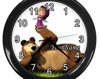 Masha and The Bear Personalized Wall Clock - Great Birthday Gift Girl